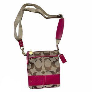 Coach Swingpack Crossbody Bag Fuschia Brown Jacqua